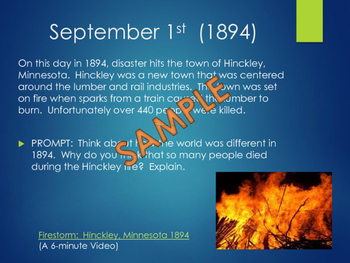 This Day in History Daily Bell Ringers with Video Links:  September