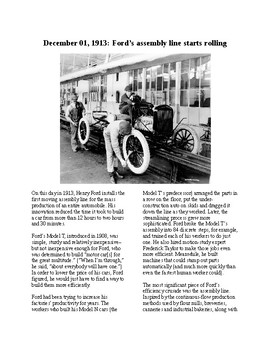 This Day in History - December 1: Ford's Assembly Line Rolls (no prep/sub plan)