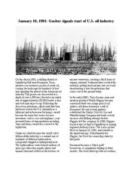 This Day in History - December 10: The Oil Boom Starts at Spindletop (no prep)