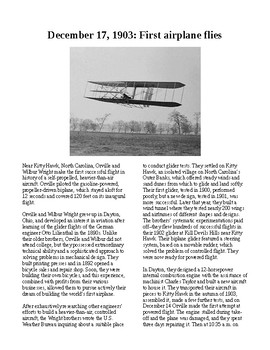This Day in History - December 17: Wright Brothers Take Flight (no prep/sub plan