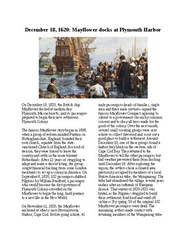 This Day in History - December 18: The Pilgrims Land in New World (no prep)