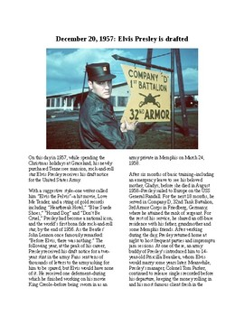 This Day in History - December 20: Elvis Presley Drafted (no prep/sub plans)