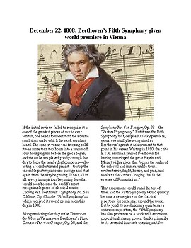 This Day in History - December 22: Beethoven's 5th Debuts (no prep/sub plan)