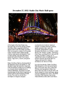 This Day in History - December 27: Radio City Music Hall Opens (no prep/sub plan