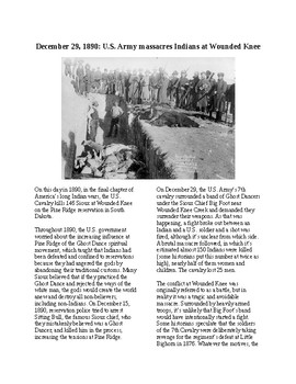 This Day in History - December 29: Massacre at Wounded Knee (no prep/sub plan)