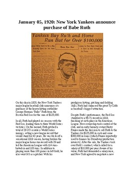 This Day in History - December 5: Babe Ruth sold to Yankees (no prep/sub plan)