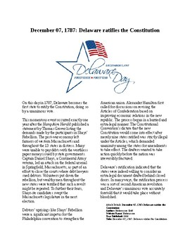 This Day in History - December 7: Delaware Ratifies Constitution (no prep/sub)