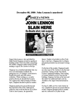 This Day in History - December 8: John Lennon Shot (no prep/sub plans)