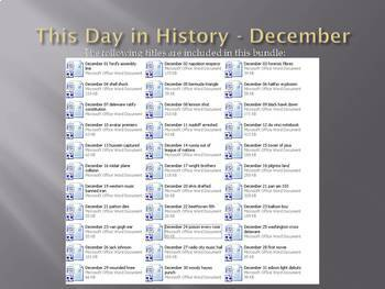 This Day in History - December Bundle (no prep/sub plans)