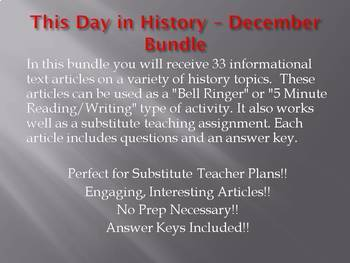 This Day in History - December Bundle - SAVE OVER $30!! (no prep/sub plans)