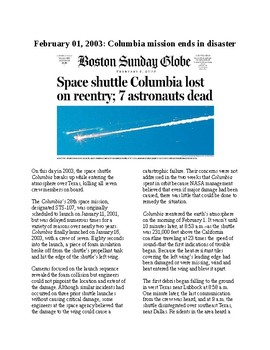 This Day in History - February 1: Space Shuttle Columbia Disaster (no prep/sub)