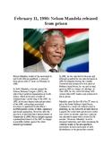 This Day in History - February 11: Nelson Mandela set free (no prep/sub plan)