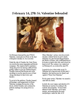 This Day in History - February 14: St. Valentine is beheaded (no prep/sub plans)