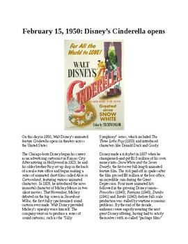 This Day in History - February 15: Disney's Cinderella Opens (no prep/sub plans)