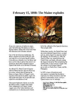 This Day in History - February 15: USS Maine explodes (no prep/sub plans)