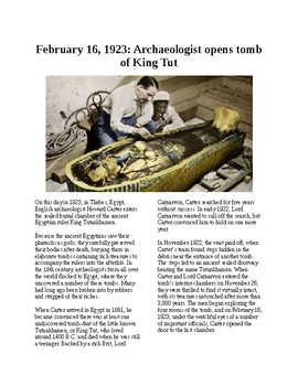 This Day in History - February 16: Tut's Tomb Discovered (no prep/sub plans)