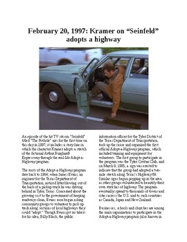This Day in History - February 20: Kramer Adopts-a-Highway (no prep/sub)