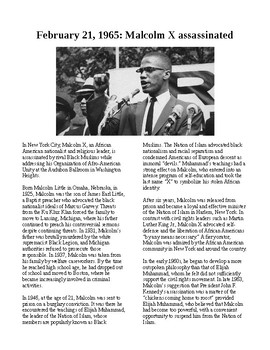 This Day in History - February 21: Malcolm X is assassinated (no prep/sub)