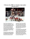 This Day in History - February 22: Winter Olympics - US Miracle on Ice (no prep)