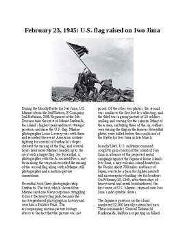 This Day in History - February 23: Marines raise flag at Iwo Jima (no prep/sub)