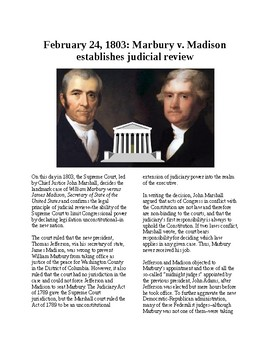 This Day in History - February 24: Marbury v. Madison - Judicial Review (no prep