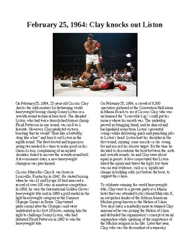 This Day in History - February 25: Clay defeats Liston (no prep/sub plan)
