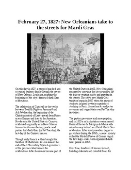 This Day in History - February 27: The first Mardi Gras (no prep/sub plan)