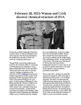 This Day in History - February 28: DNA Structure discovered (no prep/sub plan)
