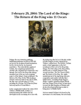 This Day in History - February 29: Lord of the Rings wins big (no prep/sub plan)
