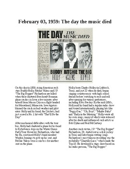 This Day in History - February 3: The Day the Music Died (no prep/sub plan)