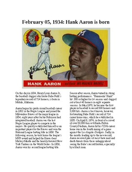 This Day in History - February 5: Hank Aaron is born (no prep/sub plan)
