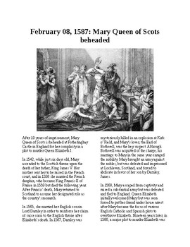 This Day in History - February 8: Mary Queen of Scots beheaded (no prep)