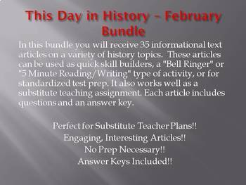 This Day in History - February Bundle: Save OVER $30!!! (no prep/sub plans)