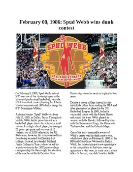 This Day in History - Februrary 8: Spud Webb wins dunk contest (no prep)