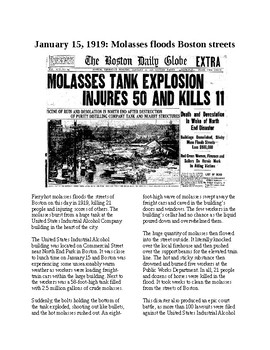 This Day in History - January 15: Molasses Floods Boston (no prep/sub plan)