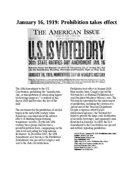 This Day in History - January 16: Prohibition Begins (no prep/sub plans)