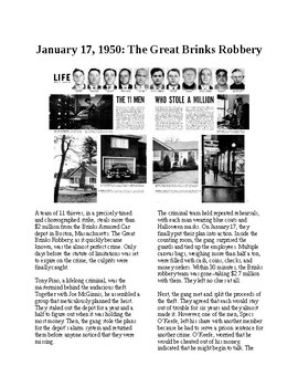 This Day in History - January 17: The Great Brinks Robbery (no prep/sub plan)