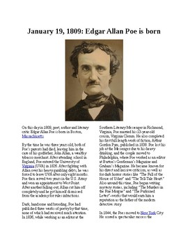 This Day in History - January 19: Edgar Allan Poe is born (no prep/sub plans)