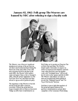 This Day in History - January 2:The Weavers are Banned on NBC (no prep/sub)