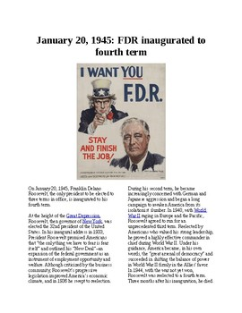 This Day in History - January 20: FDR Elected for the 4th Time (no prep/sub)