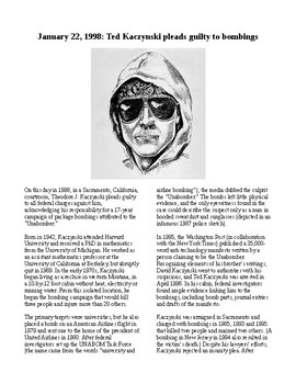 This Day in History - January 22: The Unabomber pleads guilty (no prep/sub plan)