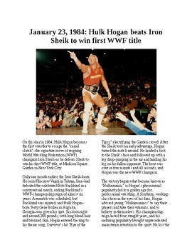 This Day in History - January 23: Hulk Hogan wins the title (no prep/sub plan)
