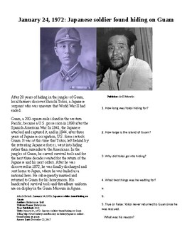 This Day in History - January 24: WWII Japanese soldier found on Guam in 1972