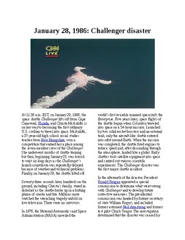 This Day in History - January 28: Space Shuttle Challenger explodes (no prep)
