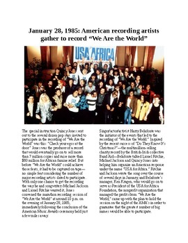 """This Day in History - January 28: """"We are the World"""" recorded (no prep/sub plan)"""