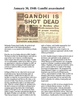 This Day in History - January 30: Gandhi assassinated (no prep/sub plans)