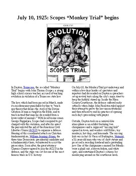 "This Day in History - July 10: Scopes ""Monkey Trial"" begins (no prep/sub plans)"