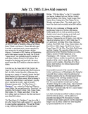 This Day in History - July 13: Live Aid Concert is held (no prep/sub plans)