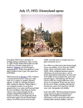 This Day in History - July 17: Disneyland opens (no prep/sub plans)