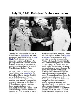 This Day in History - July 17: Postdam Conference begins (no prep/sub plans)